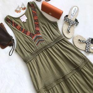 Romeo & Juliet Couture Boho Green Maxi Dress Med